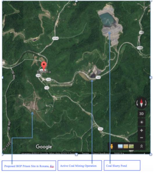 Map of active coal sites near USP Letcher proposal